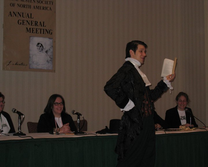 Joe Homes as Henry Tilney reading an Old Spice commercial parody at the 2010 JASNA AGM